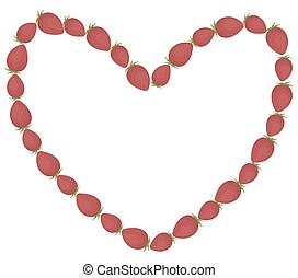 Frame in the shape of a heart made of whole fresh strawberries on a white background. Vector.