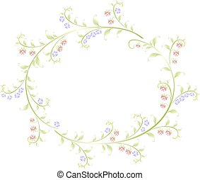 Frame in the shape of an round of berries and flowers. EPS10 vector illustration
