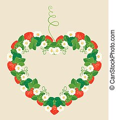 Frame is made of heart shape, ornament with Strawberries, flower
