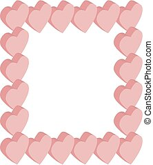 Frame isometric hearts pink