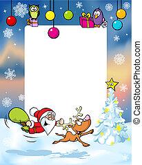 frame, kerstmis, vector