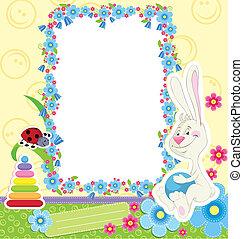 frame, kinderen, konijn