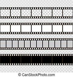 frame., kino, set., zbiór, aparat fotograficzny., wektor, ...