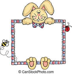 frame, konijntje, etiket