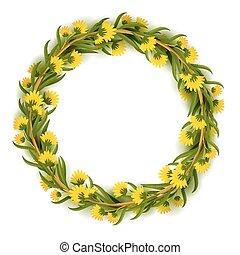 frame, krans, ontwerp, mal, floral, of