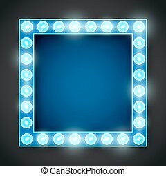 Frame lamp - Vector blue neon lights lamp vector frame...