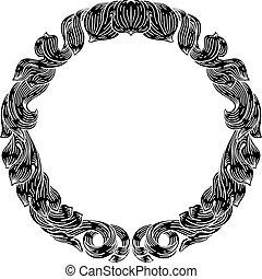 Frame laurel filigree crest floral pattern motif