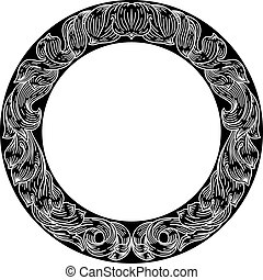 Frame laurel leaf crest floral pattern motif