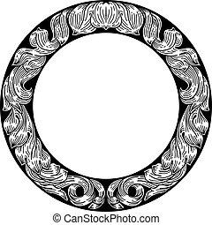 Frame laurel leaf filigree floral pattern motif