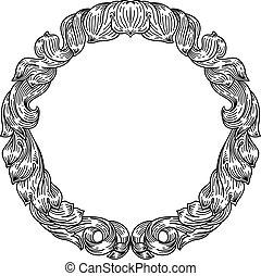 Frame leaf filigree crest floral pattern motif
