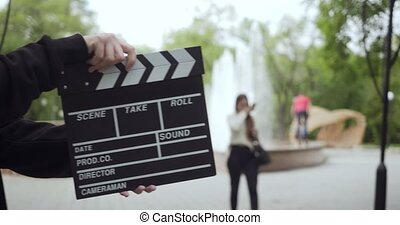 frame., liście, video, klepie, unrecognizable, człowiek,...
