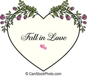 frame., lila, liebe, herbst, vektor, hintergrund, einladung, blumen muster, karte