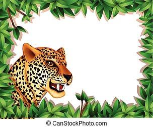 frame, luipaard, bladeren