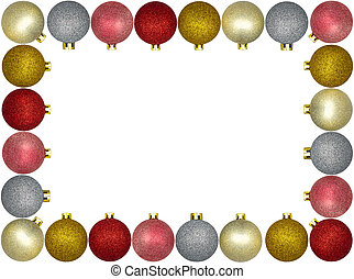 Frame made from a lot of colorful Christmas baubles, isolated on a white background with a clipping path and copy space, christmas decorations.