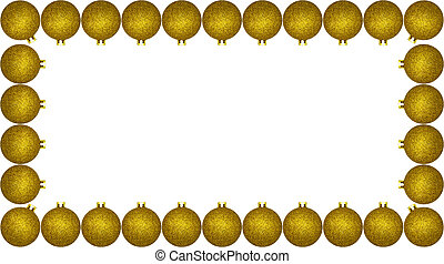 Frame made from a lot of gold Christmas baubles, isolated on a white background with a clipping path and copy space, christmas decorations.