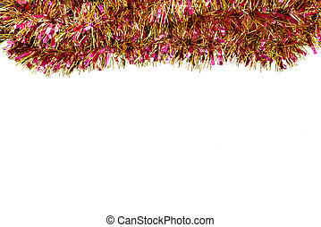 Frame made from colorful tinsel decorations for christmas, isolated on white background with clipping path and copy space.