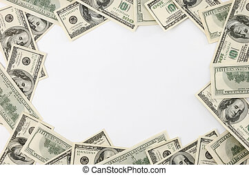 Frame made from dollar bills isolated over white Can be used as horizontal or vertical background