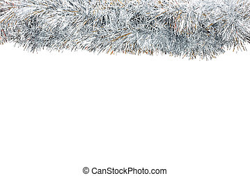 Frame made from silver tinsel decorations for christmas, isolated on white background with clipping path and copy space.
