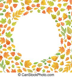 Frame made of autumn leaves in circle shape on white