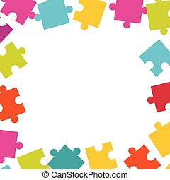 Frame made of colorful jigsaw puzzle pieces.