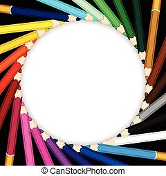 Frame made of crayons coloured