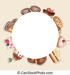 Frame made of different dessert Vector illustration ...
