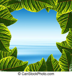 Frame made of fresh green leaves with tropical ocean view as...
