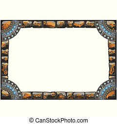 Frame made of grey stones with ancient ornament with space for your text or image isolated on white background. Vector cartoon close-up illustration.
