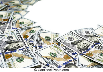 Frame made of many one hundred dollar bills