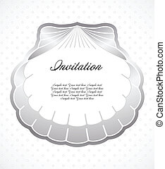 Frame made of pearl shells. Vector illustration