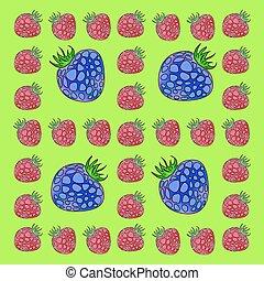 Frame made of raspberries and blackberries.