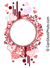 Frame made of red contour heart shapes