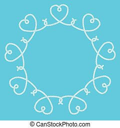 Frame made of rope hearts decorative knots