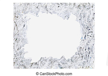 frame made out of shredded paper isolated on a white background