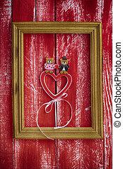 frame madeira, com, esculpido, madeira, coração, dentro