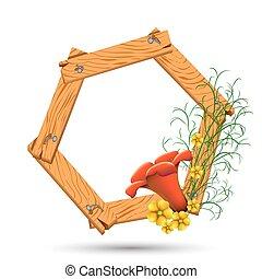 frame madeira, flores, amarelo vermelho