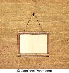 frame madeira, sinal, madeira, tábua, fundo, em branco