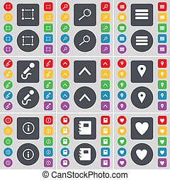 Frame, Magnifying glass, Apps, Microphone, Arrow up, Checkpoint, Information, Notebook, Heart icon symbol. A large set of flat, colored buttons for your design.