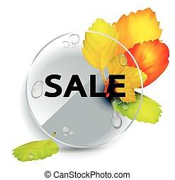frame., mazzolino, leaves., autunnale, autunno, fondo, rotondo