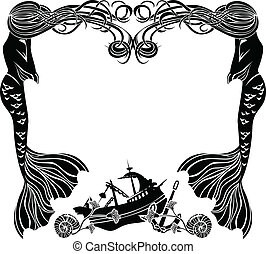 Frame, mermaids weep shipwreck, stencil for sticker