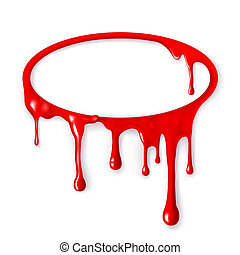 Frame of paint drips of red color. Mesh. Clipping Mask.