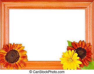 frame, met, 3, bloemen