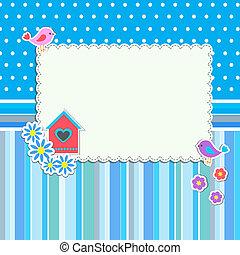 frame, met, bloemen, en, vogels