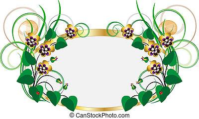 frame, met, boeketten, van, violets-pans