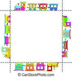 frame, met, gekleurde, spotprent, trein