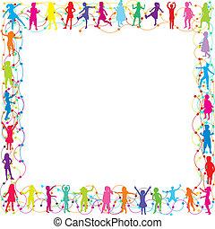 frame, met, hand, getrokken, kinderen, silhouettes