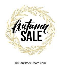 frame, met, herfstachtig, ronde, volle, bladeren, krans, en, herfst, verkoop, lettering., vector, illustratie