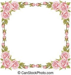 frame, met, rozen, en, leaves.