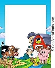 frame, met, schuur, en, boerderijdieren