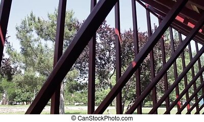 frame metal structure in the park - inside the metal...